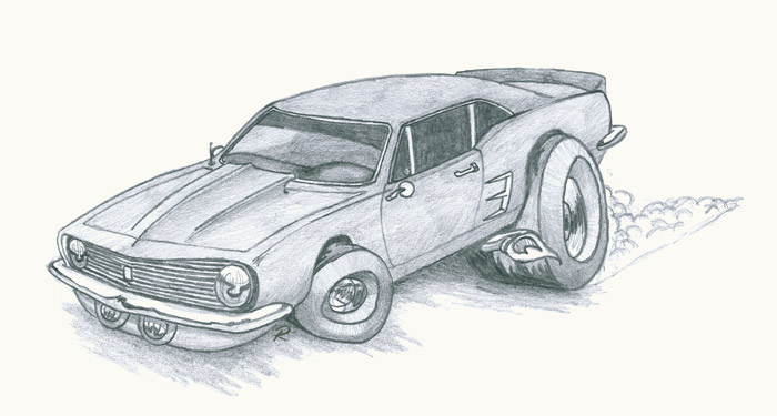 Camaro Drawing Illustration Pencil On Paper By Ryan Nore